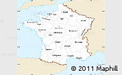 Classic Style Simple Map of France, single color outside