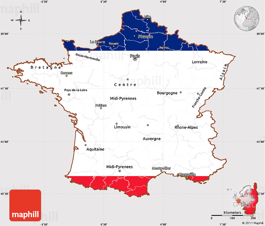 France Map Flag.Flag Simple Map Of France Flag Aligned To The Middle