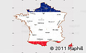 Flag Simple Map of France, flag aligned to the middle