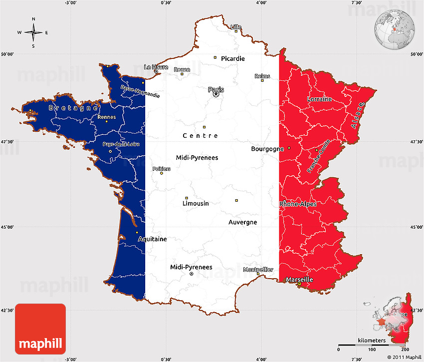 Flag Simple Map of France