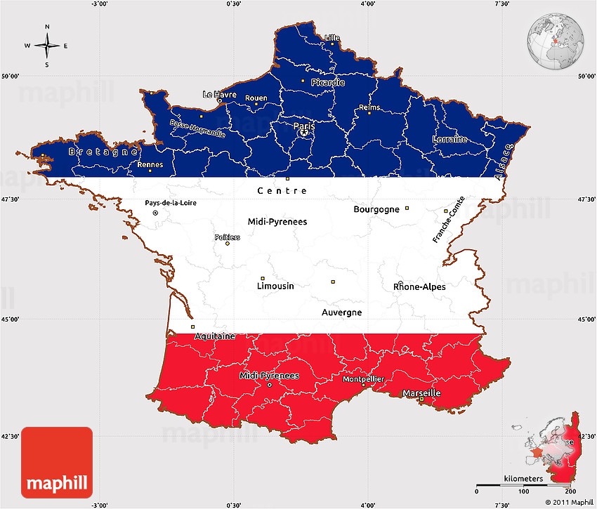 France Map Flag.Flag Simple Map Of France Flag Rotated