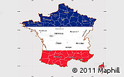 Flag Simple Map of France, flag rotated