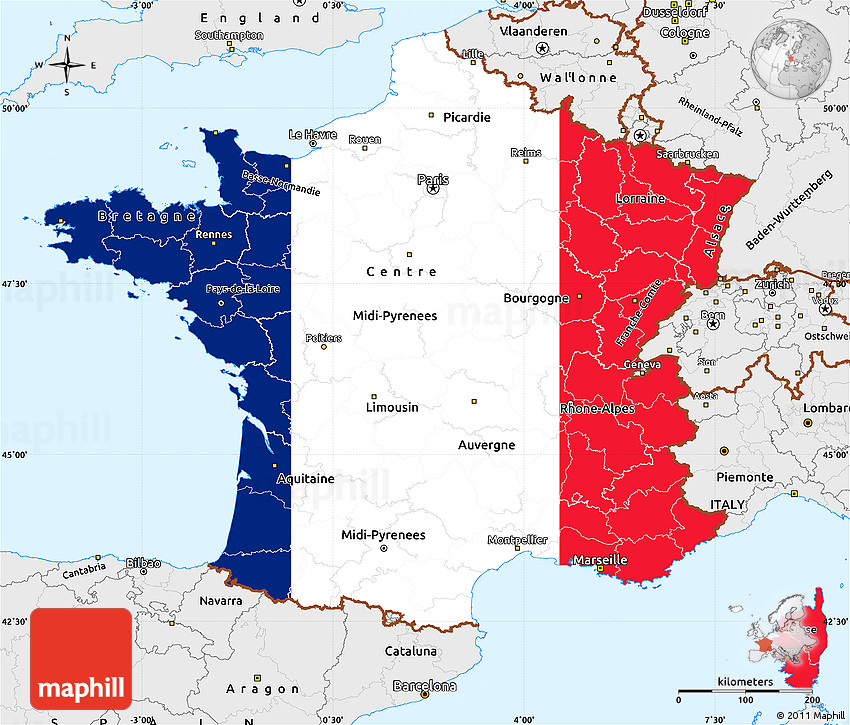 Borders Of France Map.Flag Simple Map Of France Single Color Outside Borders And Labels