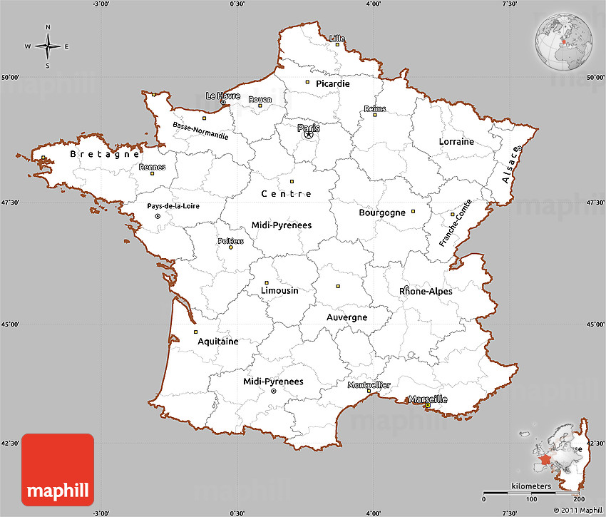 Gray Simple Map of France, cropped outside