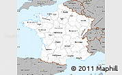 Gray Simple Map of France