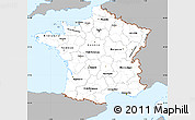 Gray Simple Map of France, single color outside