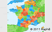 Political Simple Map of France, political shades outside