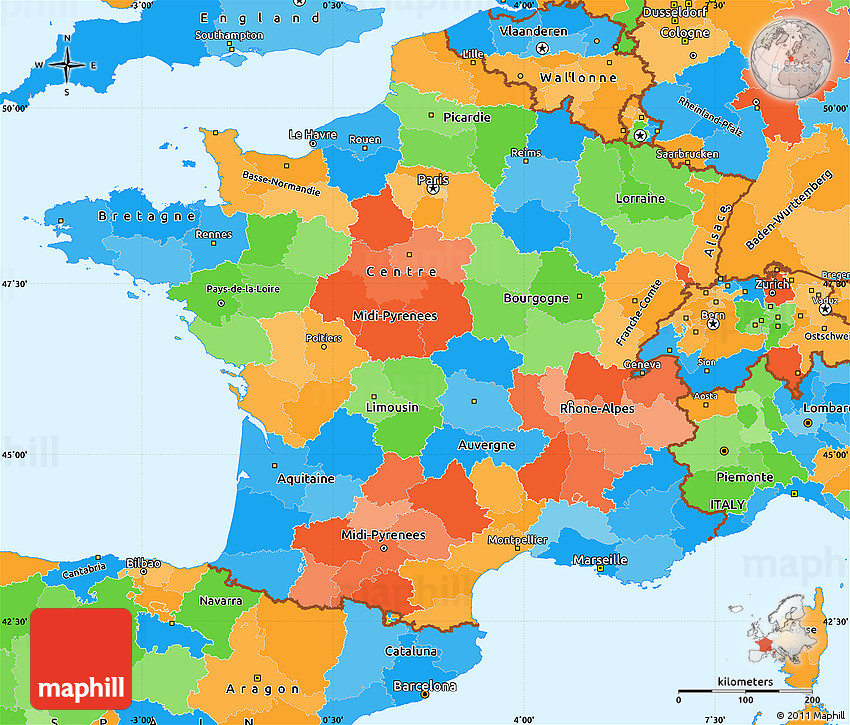 Map Of South East France.Political Simple Map Of France