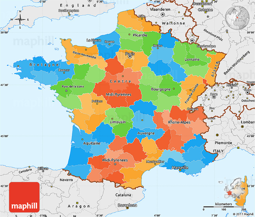 Political Simple Map of France single color outside borders and labels
