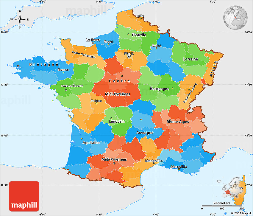 Political Simple Map of France, single color outside