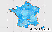 Political Shades Simple Map of France, cropped outside