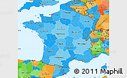 Political Shades Simple Map of France, political outside