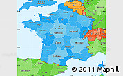 Political Shades Simple Map of France