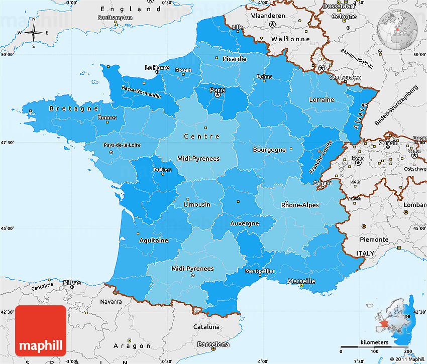 Political Outline Map Of France.Political Shades Simple Map Of France Single Color Outside Borders