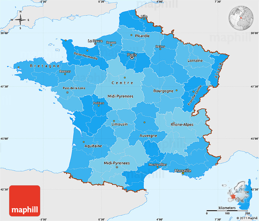 Map Of France Political.Political Shades Simple Map Of France Single Color Outside