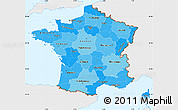 Political Shades Simple Map of France, single color outside