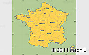 Savanna Style Simple Map of France, cropped outside