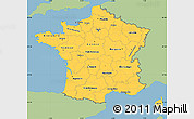 Savanna Style Simple Map of France, single color outside
