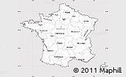 Silver Style Simple Map of France, cropped outside