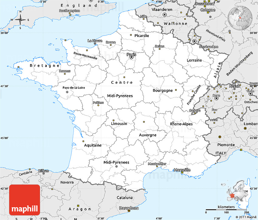 Silver Style Simple Map Of France - Map of france