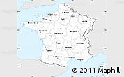 Silver Style Simple Map of France, single color outside
