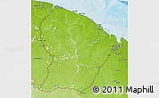 Physical 3D Map of French Guiana