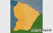 Political Shades 3D Map of French Guiana, darken