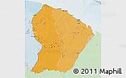 Political Shades 3D Map of French Guiana, lighten