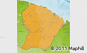Political Shades 3D Map of French Guiana, physical outside