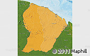 Political Shades 3D Map of French Guiana, satellite outside, bathymetry sea