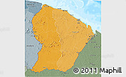 Political Shades 3D Map of French Guiana, semi-desaturated, land only
