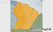 Political Shades 3D Map of French Guiana, semi-desaturated