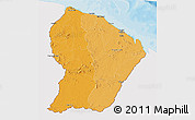 Political Shades 3D Map of French Guiana, single color outside