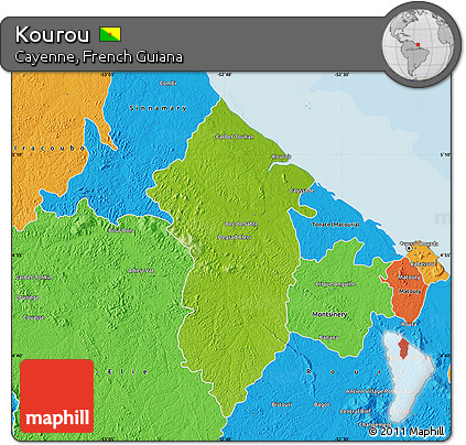 Free Physical Map of Kourou political outside