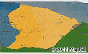 Political Shades Panoramic Map of French Guiana, darken