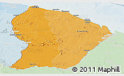 Political Shades Panoramic Map of French Guiana, lighten