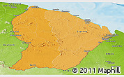 Political Shades Panoramic Map of French Guiana, physical outside