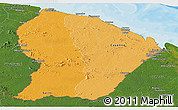 Political Shades Panoramic Map of French Guiana, satellite outside, bathymetry sea