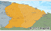 Political Shades Panoramic Map of French Guiana, semi-desaturated, land only