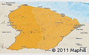 Political Shades Panoramic Map of French Guiana, shaded relief outside, bathymetry sea