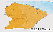 Political Shades Panoramic Map of French Guiana, single color outside
