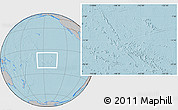 Gray Location Map of French Polynesia, hill shading outside