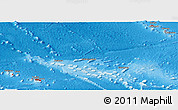 Flag Panoramic Map of French Polynesia, shaded relief outside