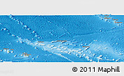 Physical Panoramic Map of French Polynesia, political shades outside, shaded relief sea
