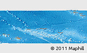 Political Panoramic Map of French Polynesia, shaded relief outside, bathymetry sea