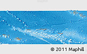 Political Shades Panoramic Map of French Polynesia, physical outside