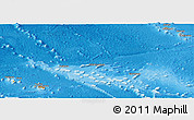 Political Shades Panoramic Map of French Polynesia, shaded relief outside, bathymetry sea