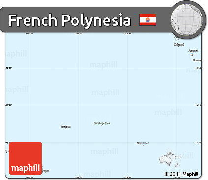 Silver Style Simple Map of French Polynesia