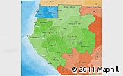 Political Shades 3D Map of Gabon