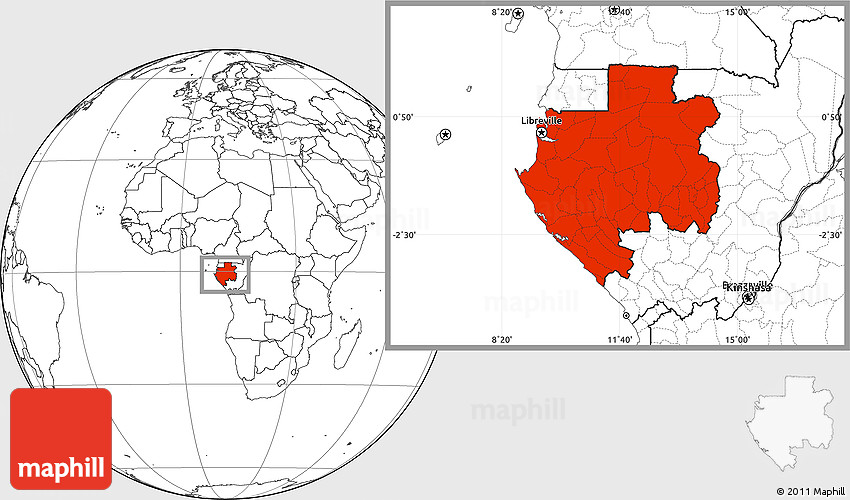 Blank Location Map Of Gabon - Gabon blank map